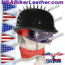 Spiked German Novelty Motorcycle Helmet in Gloss Black / SKU USA-H402-02-DL - USA Biker Leather - 1