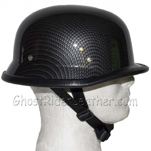 Faux Carbon Fiber LOOK German Motorcycle Novelty Helmet / SKU GRL-H402-CF-DL - USA Biker Leather