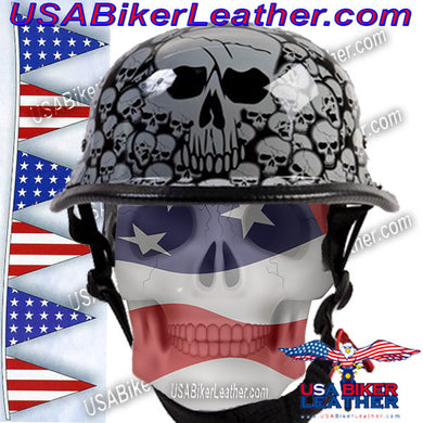 Grey Boneyard Skulls German Novelty Motorcycle Helmet / SKU USA-H5402-GREY-DL - USA Biker Leather - 1