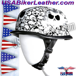 White German Novelty Motorcycle Helmet / SKU USA-H5402-WHITE-DL - USA Biker Leather - 3