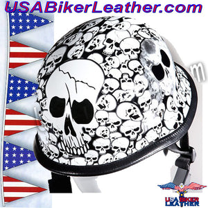 White German Novelty Motorcycle Helmet / SKU USA-H5402-WHITE-DL - USA Biker Leather - 2