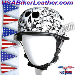 White German Novelty Motorcycle Helmet / SKU USA-H5402-WHITE-DL - USA Biker Leather