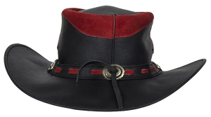 Black and Red Leather Gambler Hat - SKU USA-HAT10-11-DL