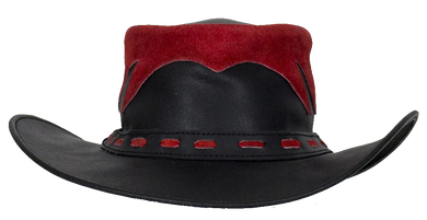 ac792ac3f90c6 Black and Red Leather Gambler Hat - SKU USA-HAT10-11-DL