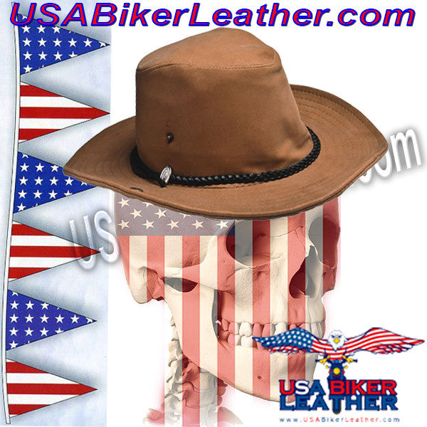 36f6f83629067 Brown Cowboy Hat   SKU USA-HAT11-DL - USA Biker Leather