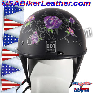 Flat Black Purple Rose DOT Motorcycle Helmet / SKU USA-HS1100-D1-FLAT-DL - USA Biker Leather - 3