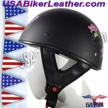 Flat Black Purple Rose DOT Motorcycle Helmet / SKU USA-HS1100-D1-FLAT-DL - USA Biker Leather - 2