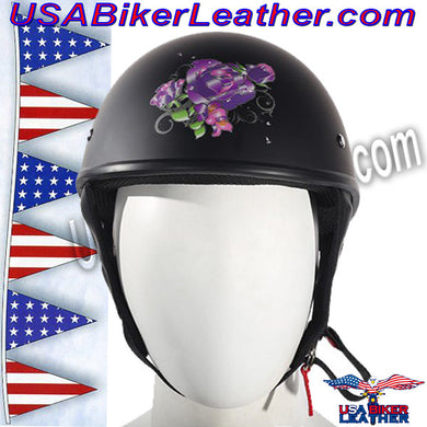 Flat Black Purple Rose DOT Motorcycle Helmet / SKU USA-HS1100-D1-FLAT-DL - USA Biker Leather
