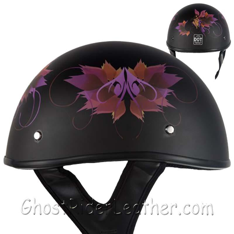 DOT Fairy Flat Black Motorcycle Helmet / SKU GRL-HS1100-D2-FLAT-DL