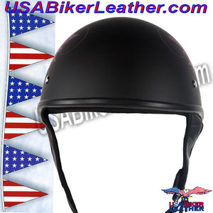 DOT Fairy Flat Black Motorcycle Helmet / SKU USA-H1100-D2-FLAT-DL - USA Biker Leather - 3