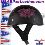 DOT Fairy Flat Black Motorcycle Helmet / SKU USA-H1100-D2-FLAT-DL - USA Biker Leather - 2
