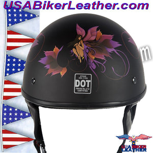 DOT Fairy Flat Black Motorcycle Helmet / SKU USA-H1100-D2-FLAT-DL - USA Biker Leather