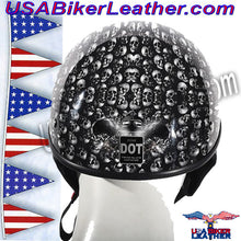 DOT Gray Skulls Shiny Motorcycle Helmet / SKU USA-HS1100-D3-GRAY-SHINY-DL - USA Biker Leather - 2