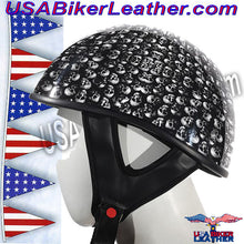 DOT Gray Skulls Shiny Motorcycle Helmet / SKU USA-HS1100-D3-GRAY-SHINY-DL - USA Biker Leather - 3