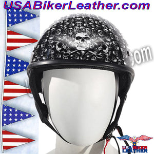 DOT Gray Skulls Shiny Motorcycle Helmet / SKU USA-HS1100-D3-GRAY-SHINY-DL - USA Biker Leather