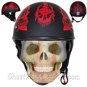 DOT Red Horned Skeletons Motorcycle Helmet - Flat Finish - SKU USA-HS1100-D5-RED-FLAT-DL - USA Biker Leather