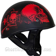 DOT Red Horned Skeletons Motorcycle Helmet - Flat Finish - SKU USA-HS1100-D5-RED-FLAT-DL