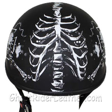 DOT White Horned Skeletons Motorcycle Helmet - Flat Finish - SKU USA-HS1100-D5-WHITE-FLAT-DL