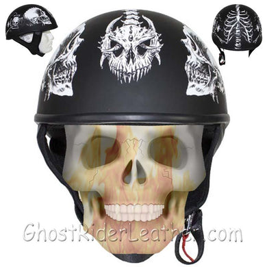 DOT White Horned Skeletons Motorcycle Helmet - Flat Finish - SKU USA-HS1100-D5-WHITE-FLAT-DL - USA Biker Leather
