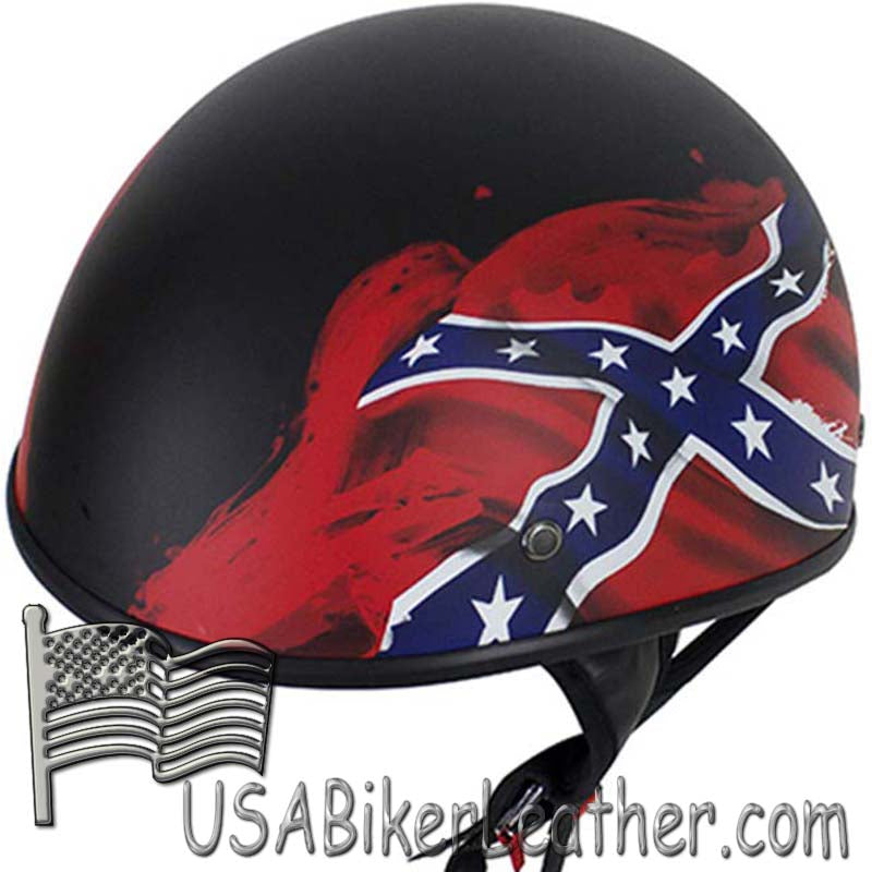 DOT Rebel Flag Motorcycle Helmet - Flat Finish - SKU USA-HS1100-REBEL-FLAT-DL