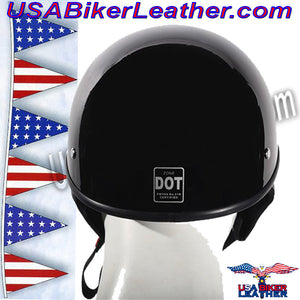 Gloss Black DOT Shorty Motorcycle Helmet / SKU USA-HS1100-SHINY-DL - USA Biker Leather - 2