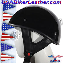 Gloss Black DOT Shorty Motorcycle Helmet / SKU USA-HS1100-SHINY-DL - USA Biker Leather - 3