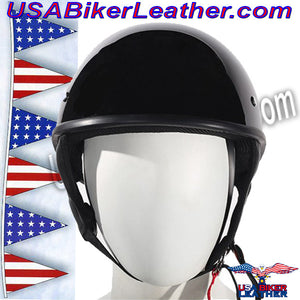 Gloss Black DOT Shorty Motorcycle Helmet / SKU USA-HS1100-SHINY-DL - USA Biker Leather - 1