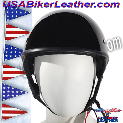 Gloss Black DOT Shorty Motorcycle Helmet / SKU USA-HS1100-SHINY-DL