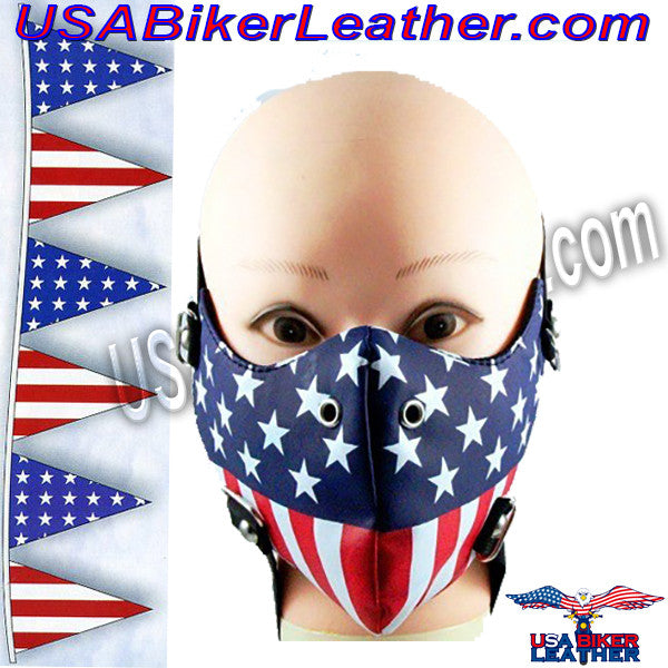 American Flag Half Face Mask in Pleather / SKU USA-FMW49-HI - USA Biker Leather