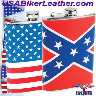 Set of Two Flasks / American Flag and Rebel Flag Flasks / SKU USA-KTFLKFLG-KTFLKRBL-BN - USA Biker Leather
