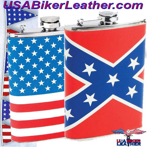 Set of Two Flasks / American Flag and Rebel Flag Flasks / SKU USA-KTFLKFLG-KTFLKRBL-BN