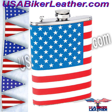 Maxam 8oz Stainless Steel Flask with American Flag Wrap / SKU USA-KTFLKFLG-BN - USA Biker Leather