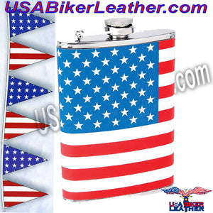 Set of Two Flasks / American Flag and Rebel Flag Flasks / SKU USA-KTFLKFLG-KTFLKRBL-BN - USA Biker Leather - 2