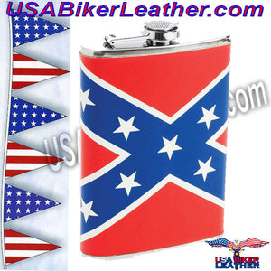 Maxam 8oz Stainless Steel Flask with Rebel Flag Wrap / SKU USA-KTFLKRBL-BN - USA Biker Leather