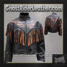 Ladies Leather Jacket With Orange Flames and Fringe / SKU GRL-LJ259-DL - USA Biker Leather