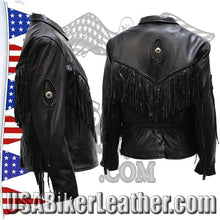 Ladies Leather Jacket with Braid and Fringe Design / SKU USA-LJ280-DL - USA Biker Leather - 2