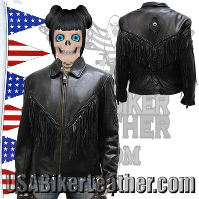 Ladies Leather Jacket with Braid and Fringe Design / SKU USA-LJ280-DL - USA Biker Leather