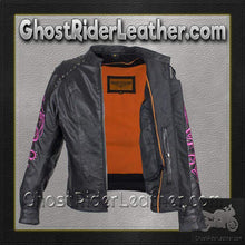 Ladies Racer Leather Jacket With Studs and Hot Pink Sleeve Design / SKU GRL-LJ7018-HOTPINK-11-DL