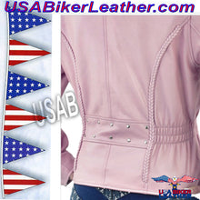 Womens Pink Leather Motorcycle Jacket / SKU USA-LJ710PINK-DL - USA Biker Leather - 2