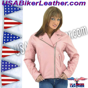 Womens Pink Leather Motorcycle Jacket / SKU USA-LJ710PINK-DL - USA Biker Leather - 1