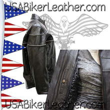 Ladies Reflective Piping Leather Jacket with Air Vents / SKU USA-LJ7900-DL - USA Biker Leather - 2
