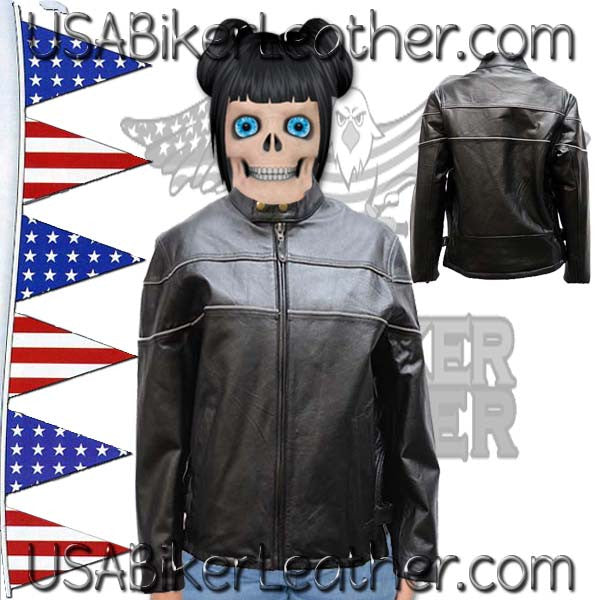 Ladies Reflective Piping Leather Jacket with Air Vents / SKU USA-LJ7900-DL - USA Biker Leather - 1