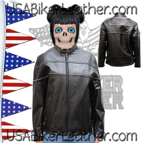 Ladies Reflective Piping Leather Jacket with Air Vents / SKU USA-LJ7900-DL
