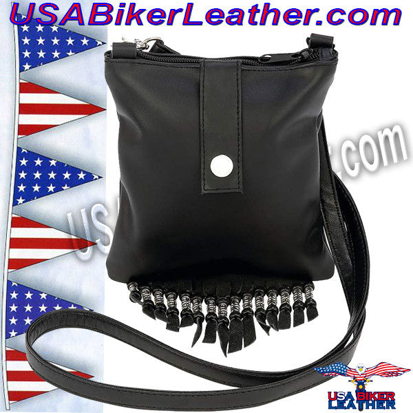 Diamond Plate Solid Genuine Leather Biker Belt Loop Purse / SKU USA-LUBELTPRS2-BN - USA Biker Leather