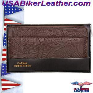 Casual Outfitters Brown Solid Genuine Leather Ladies Wallet / SKU USA-LULWAL32-BN - USA Biker Leather - 3