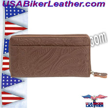 Casual Outfitters Brown Solid Genuine Leather Ladies Wallet / SKU USA-LULWAL32-BN - USA Biker Leather
