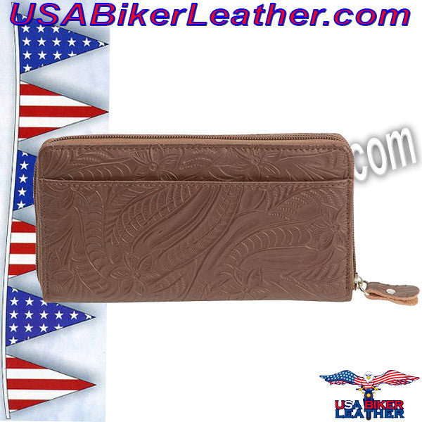 Casual Outfitters Brown Solid Genuine Leather Ladies Wallet / SKU USA-LULWAL32-BN - USA Biker Leather - 1