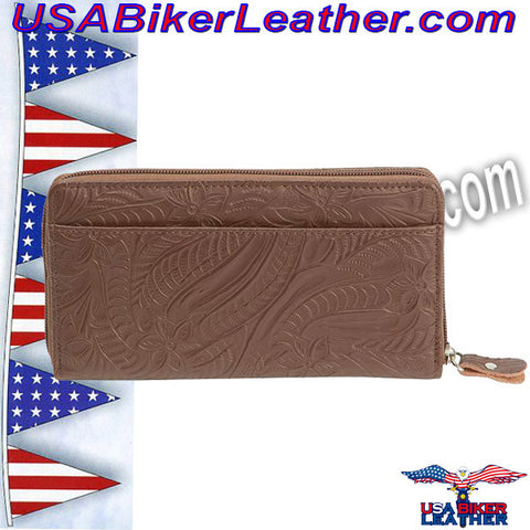 Casual Outfitters Brown Solid Genuine Leather Ladies Wallet / SKU USA-LULWAL32-BN