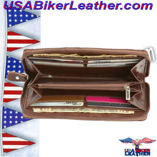 Casual Outfitters Brown Solid Genuine Leather Ladies Wallet / SKU USA-LULWAL32-BN - USA Biker Leather - 2