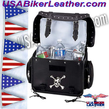 Diamond Plate Motorcycle Trunk Cooler Bag with Skull / SKU USA-LUMCOOL-BN - USA Biker Leather